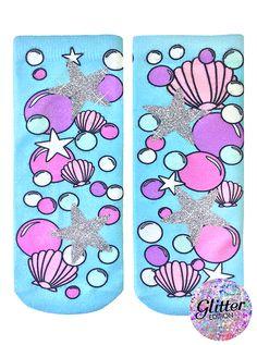 GLITTER Underwater Seashell Ankle Socks #livingroyal