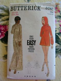 boho beach coverup loose fitting hooded mini or maxi length Miss Size 12  bust 34 Easy BUTTERICK 5785 original vintage sewing pattern 8df90256ccd5
