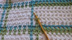 fibrearts:  Woven Baby blanket on Mesh Ground; tutorial on Ravelry