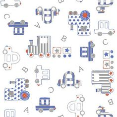 Decorate baby's room with nursery fabric prints for bedding, clothing or decor. Our nursery fabric is available in a variety of cute patterns & styles to match your theme. Baby Patterns, Fabric Patterns, Print Patterns, Nursery Fabric, Baby Fabric, Train Illustration, Printable Scrapbook Paper, Boys Wallpaper, Paper Stars