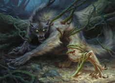 """werewolf-fiction: """" Ulvenwald Captive MtG Art by Chris Rahn """" Werewolf Vs Vampire, Werewolf Art, Creature Concept Art, Creature Design, Eldritch Moon Mtg, Fantasy Creatures, Mythical Creatures, Dark Creatures, Of Wolf And Man"""