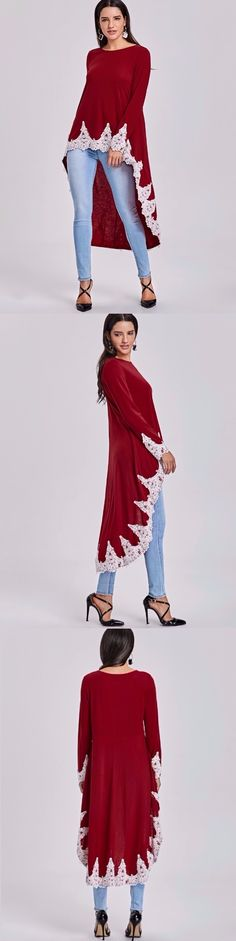 Crochet Trim High Low Hem Top
