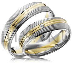 """A41 Tyto prsteny jsou tvořeny hlubšími liniemi, které vytvářejí unikátní """"zvrásněný"""" povrch a tím jsou tyto prsteny poutavé a fascinující. Kombinace bílého a žlutého zlata dodává designu těchto prstenů nádech luxusu, korunovaný jedním briliantem v dámském prstenu. #bisaku #wedding #rings #engagement #brilliant #svatba #snubni #prsteny"""