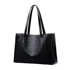 Micom 2016 Simple Womens Faux Crocodile Leather Large Tophandle Shoulder Handbags Tote Bags for Work School Black ** Check out the image by visiting the link.Note:It is affiliate link to Amazon.