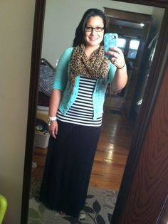 Black maxi, striped top, mint cardigan, and leopard scarf. Comfy casual outfit.