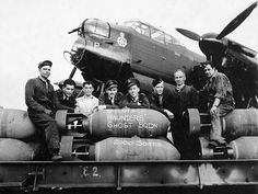 Crew of 428 (Ghost) Squadron, RCAF with Avro Lancaster B.X aircraft NA P, which flew the squadron sortie raid on Bremen Middleton St George England,August 18 source: canadian archives Ww2 Aircraft, Military Aircraft, Navy Aircraft, Commonwealth, Lancaster Bomber, Aircraft Painting, Ww2 Planes, Battle Of Britain, Nose Art