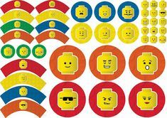 Lego Party Free Printable Cupcake Wrappers and Toppers. Kai Lan, Lego Printable Free, Free Printables, Tardis, Hello Kitty, Oh My Fiesta, Minecraft, Pikachu, Cupcake Wrappers