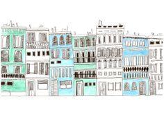 Ensemble de 3 tirages de Venise bleus. par KatieSmithCeramics