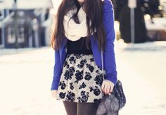 white scarf, black and white floral skirt, blue blazer....but make the skirt longer and appropriate for work and church