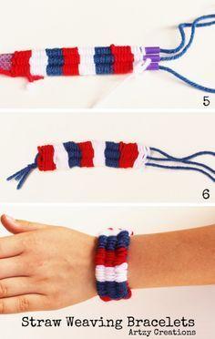 Straw Weaving Bracelet Ideas & a simple step by step guide - Diy Kids Crafts Straw Weaving, Weaving For Kids, Weaving Art, Summer Crafts, Diy Crafts For Kids, Arts And Crafts, Yarn Bracelets, Making Bracelets, Finger Knitting