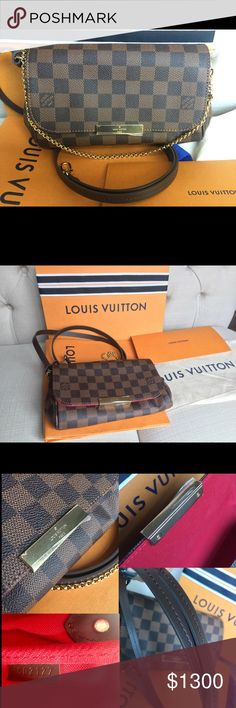 Louis Vuitton favorite PM 2017 Brand new never used Louis Vuitton Favorite Pm in Damier Ebene! Sold out and being discontinued! Protective sticker still on front plate. Comes with strap, box, dust bag, shopping bag, tag, and receipt! This is very versatile handbag that can be worn as a cross body, shoulder bag, and clutch! Great for everyday! Date code SD2127 made in USA!  Same day or next day shipping included! Guaranteed authentic and as described! Louis Vuitton Bags Crossbody Bags