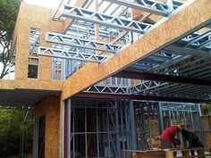 Light steel frame construction, alternative building by Frametech. Steel Trusses, Roof Trusses, Steel Frame House, Steel House, Shed Building Plans, Building Systems, Roof Truss Design, Metal Shop Building, Structural Insulated Panels