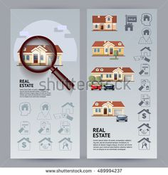 Set Real Estate leaflet cards. Flat style colorful vector illustration with houses, icons, magnifier on blue background.