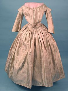 Day Dress: ca. 1845, silk.