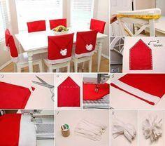 Pour transformer vos chaises de cuisine ou même celles du séjour et les plonger dans l'ambiance de Noël, réalisez de jolies housses de chaises de Noël. C'e