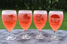 Beach Life Frosted Goblet Wine Glasses Set Of 2 by DeeLuxDesigns on Etsy