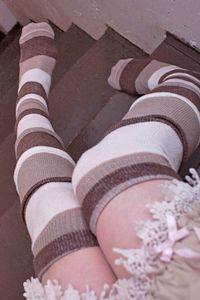 Dreamer Ruffle Striped OTK in Chocolate, Hemp and Cream - these totally remind us of sepia toned photos! Cute Socks, My Socks, Thigh Highs, Knee Highs, Pretty Tight, Winter Skirt, Colorful Socks, Guys And Girls, Japanese Fashion