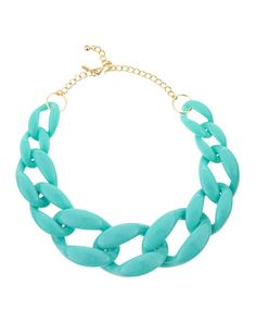 Turquoise+Link+Necklace,+Golden+by+Kenneth+Jay+Lane+at+Neiman+Marcus+Last+Call.