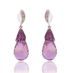 Amethyst And Ruby earrings with diamonds setted in gold. Amethyst Earrings, Pearl Earrings, Drop Earrings, Purple Jewelry, Lotus Jewelry, British Crown Jewels, Titanic Jewelry, My Birthstone, Beaded Ornaments