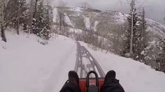 Speeding down a snowy alpine slide is the perfect winter thrill-ride.
