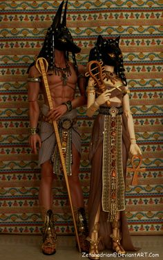 Anubis n Bastet by Zetahadrian on DeviantArt Egyptian Goddess Costume, Egyptian Party, Egyptian Mythology, Egyptian Makeup, Egyptian Fashion, Egyptian Jewelry, Cleopatra, Halloween Cosplay, Halloween Costumes