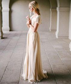 Modest Wedding Dress With Flutter Sleeve Slim Fitted Scoop Neck A Line Champagne Vintage Bridal Gowns Outdoor Beach Bride Dresses Simple New Bride Dresses Online Cheap Designer Wedding Dresses From Gracedresses, $136.69| Dhgate.Com