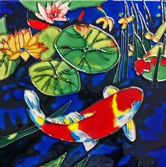 Continental Art Center BD0574 8 by 8Inch Single Koi Fish with Dark Blue Background Ceramic Art Tile *** You can find out more details at the link of the image.