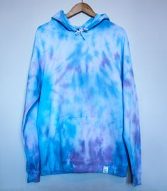 American Apparel Tie Dye Hoodie Blue/Purple Pastel