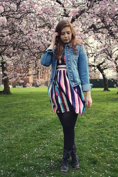 denim jacket and striped dress. click the pic for more!
