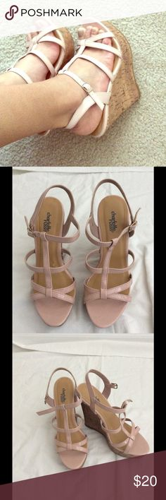 Rose wedge heels. Worn a few times, In perfect conditions. Charlotte Russe Shoes Wedges