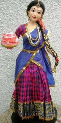 Girl in Half Saree with Flowers - Hobbies paining body for kids and adult Paper Mache Crafts, Doll Crafts, Diy Doll, Clay Crafts, Clay Dolls, Art Dolls, Quilling Dolls, Paper Quilling, Indian Costumes