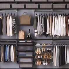 Available exclusively at The Container Store, get inspired shelving ideas from The Container Store! Brand new space needs brand new Elfa. Shop our new shelving systems and storage shelves, now. Shop What's NEW from Elfa today. Elfa Closet, Closet Shelves, Closet Storage, Closet Organization, Elfa Shelving, Shop Shelving, Shelving Systems, Classy Closets, Dream Closets