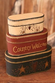 New Primitive Folk Art COUNTRY WELCOME Star Heart Nesting Stacking Boxes