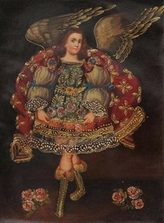 """Archangel Angel Gabriel #Cuzco School Oil #Painting On Canvas  16""""H x 12""""W. Look at the exquisite facial features and the color composition, it is just simply amazing . This remarkable painting has some subtle high-relief details. Bronze Leaf was used to accentuate finishing touches on this magnificent portrait, $59.99 (http://www.alpaca4less.com/archangel-angel-gabriel-cuzco-school-oil-painting-on-canvas-16h-x-12w-06890/) #Art #Peru"""