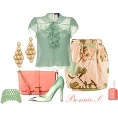 mint green & peach by bonnaroosky on Polyvore featuring polyvore, fashion, style, Ralph Lauren Collection, H&M, Orla Kiely, Essie, Louis Vuitton, mint green and cuff bracelets
