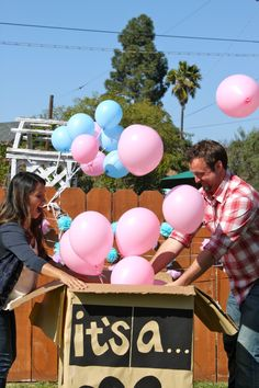 Baby gender reveal... If i have another baby I  am going to do a gender party and this is such a cute idea