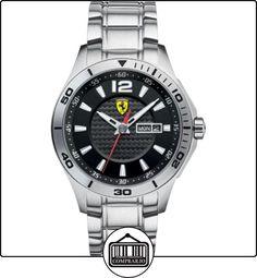 Ferrari 830094 - Reloj analógico de cuarzo para hombre, correa de acero inoxidable color plateado de  ✿ Relojes para hombre - (Gama media/alta) ✿
