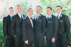 Formal groomsmen outfit idea - matching black suites and neckties {Clane Gessel Photography}