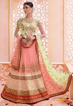 Buy Peach and light green color georgette wedding lehenga in UK, USA and Canada