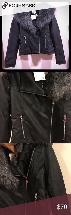 Vegan Leather Moto Jacket w/ Faux Fur Collar Soft vegan leather moto jacket with removable faux silver cox fur collar. Quilted lining. Shiny silver zipper details on rollable cuffs, front pockets and front zipper. Zipper goes all the way up the left chest when faux fur collar is removed. I accept reasonable offers!  Luii Jackets & Coats