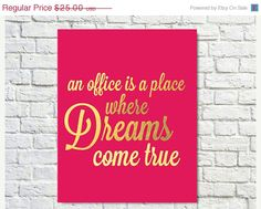 25% OFF - Typography Print, The Office Quote, TV Quote, Michael Scott, Pink Gold, Office Decor, Dreams, Office TV Show - Office Dreams Pink