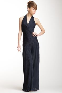 Pleated Halter Gown by Halston Heritage on @nordstrom_rack