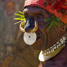 Papua New Guinea | Few people, mainly only the older generation, still wear this form of traditional nose adornment (as the missionaries have convinced them to stop doing it !!) This one is made from wild pig teeth and shell. Highlands, Mount Hagen Singsong Festival | © Eric Lafforgue