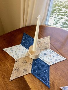 Primitive Winter Snowman and Snowflakes Quilted Star Candle