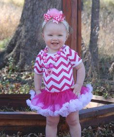 Hot Pink & White Zigzag Tutu Bodysuit - Infant by Under The Hooded Towels #zulily #zulilyfinds