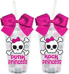 Rock Princess Punk Princess Skull Pink 16oz Personalized Acrylic Tumbler.