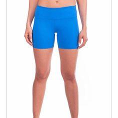 "Yoga shorts 90 degree by reflex blue yoga yaya shorts. Size L. Nylon/poly/spandex. Measurements laid flat: waist 15.5""/ rise 9""/ inseam 4.5"". Excellent condition. Reflex Shorts"