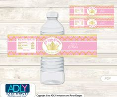 Pink Princess Baby Shower Water Bottle by aoprintablesforkids