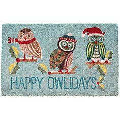 Happy Owlidays door mat, Paper Source - Cute gift idea for my Kappa Gamma friends! Christmas Owls, Little Christmas, Christmas Time, Christmas Decorations, Christmas Door, Christmas Ideas, Christmas Crafts, Xmas, Cute Gifts