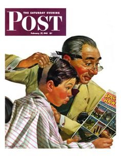 """""""Comical Haircut,"""" Saturday Evening Post Cover, February 27, 1943 Giclee Print by Howard Scott at Art.com"""